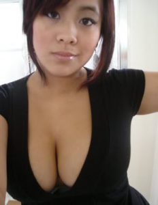Hot asian redhead with huge boobs